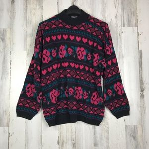 Adele Knitwear 1980 Vintage Rose & hearts sweater